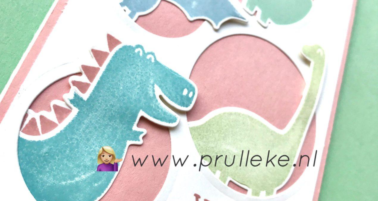 Peek-a-boo kaart meet Dinoroar stempels van Stampin' Up!