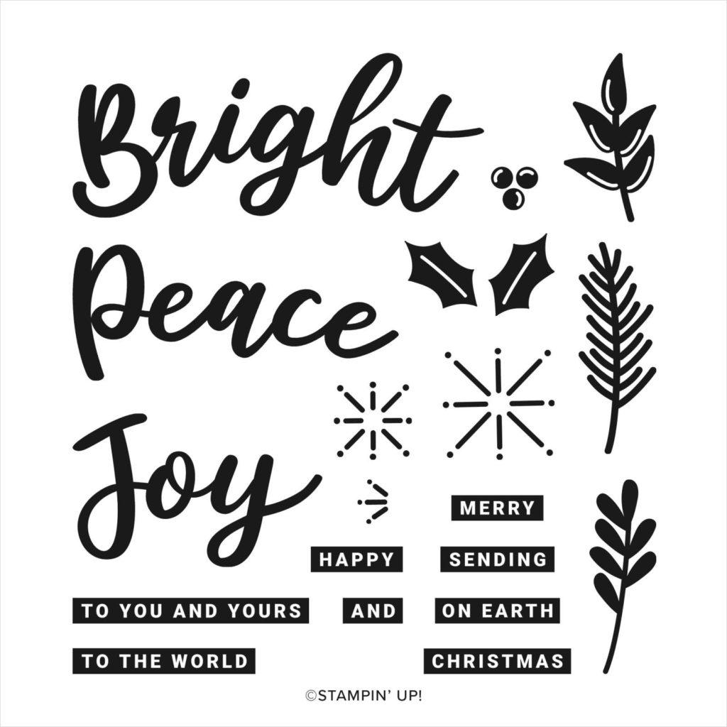 Afbeeldingen van de Peace & Joy stempelset